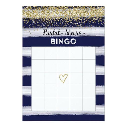 Gold and Navy Blue Bridal Shower Bingo Card