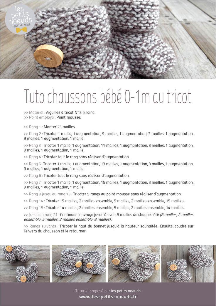 Tutoriel chaussons bébé au tricot 0-1 mois | Les petits noeuds