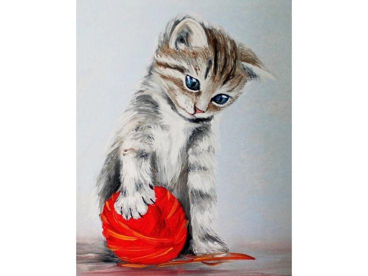 Алмазная вышивка «Котенок с красным клубком» (с ...
