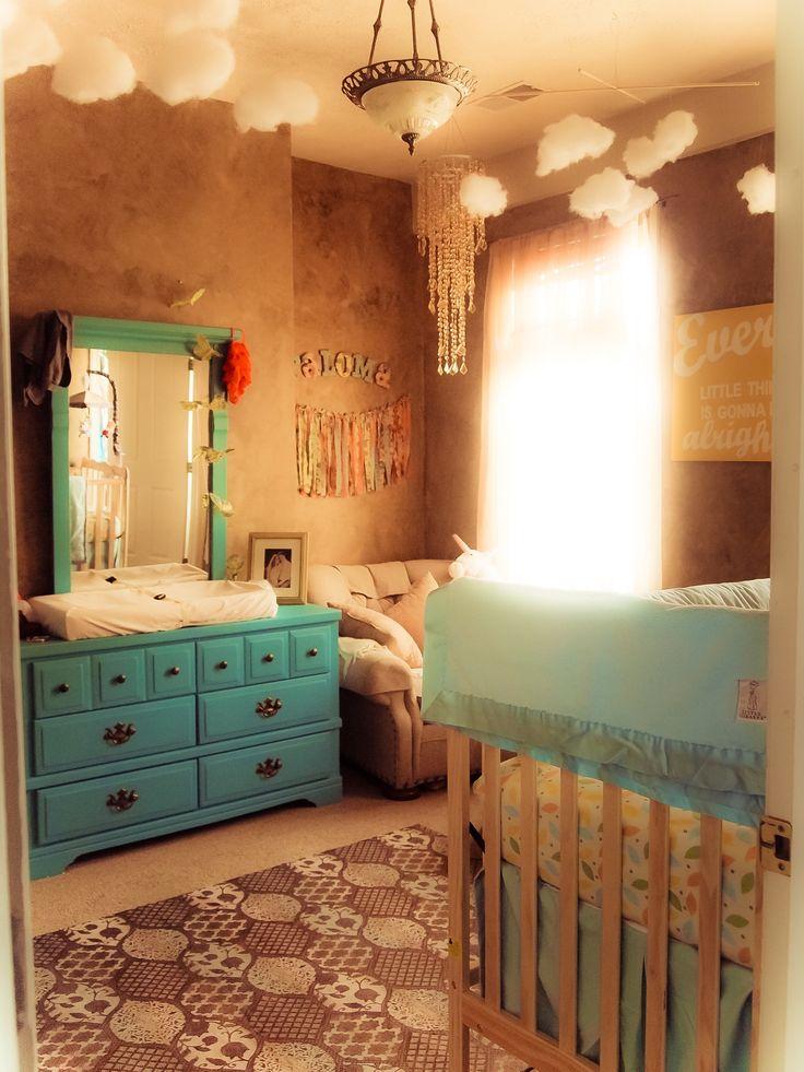 Poppy's finished diy nursery Aqua turquoise golden beige Birds / Sky / Flowers / Clouds / Dreamcatchers / Alice in Wonderland
