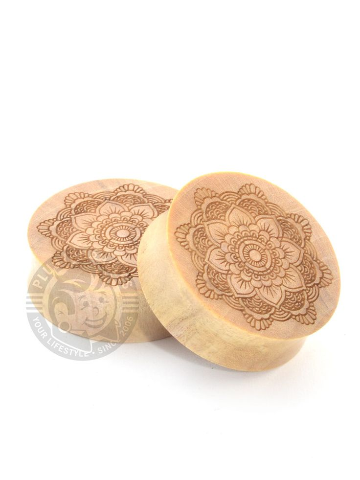 Floral Mandala Tattoo Flash Engraved Wood Plugs | Plug Your Holes - Your Lifestyle, Since 2006.