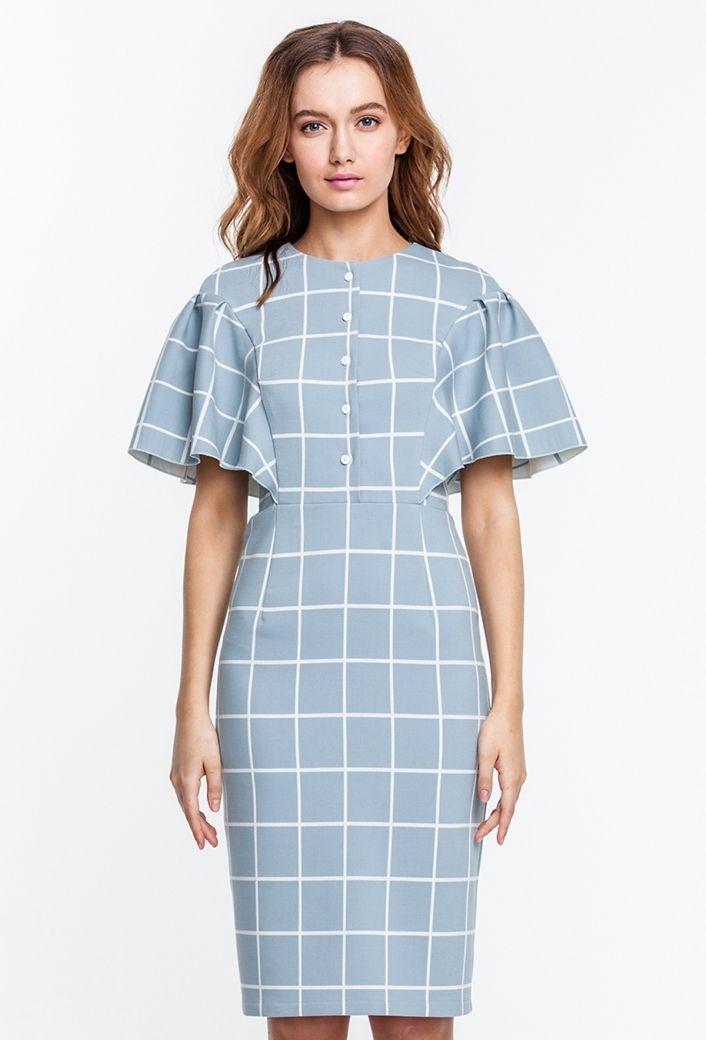 Платье-футляр голубое в белую клетку, с планкой и пышными рукавами купить в Украине, цена в каталоге интернет-магазина брендовой одежды Musthave