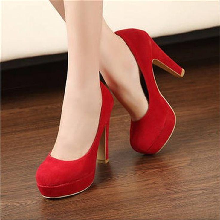 Бесплатная доставка 2016 осень женская обувь Насосы обувь Одного принцесса обувь круглая голова толщиной с водонепроницаемой замши на высоких каблуках #CLICK! #clothing, #shoes, #jewelry, #women, #men, #hats, #watches