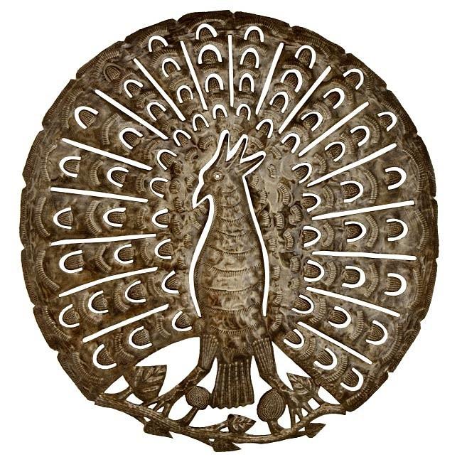 Peacock Metal Drum Art