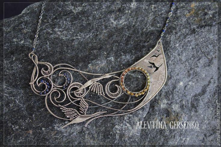 """Купить Колье """"Рассвет"""" - украшения ручной работы, украшения из серебра, украшения из проволоки, сапфир"""