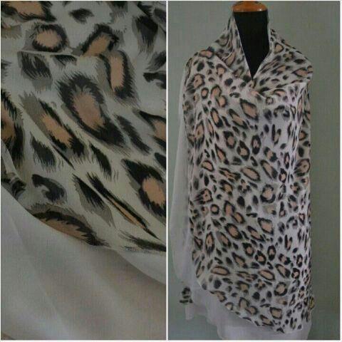 Khimar leopard bahan sifon ceruti