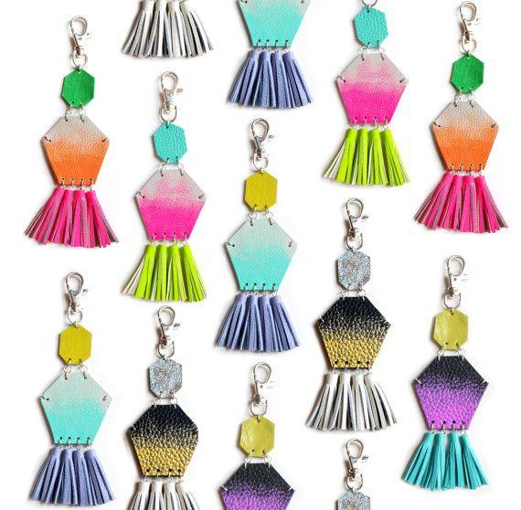 Mint Tassel Key Chain, Hexagon Custom Key Chain, Lavender Fringe Purse Clip, Teal Ombre, Purple and Green Key Fob, Geometric Key Chain