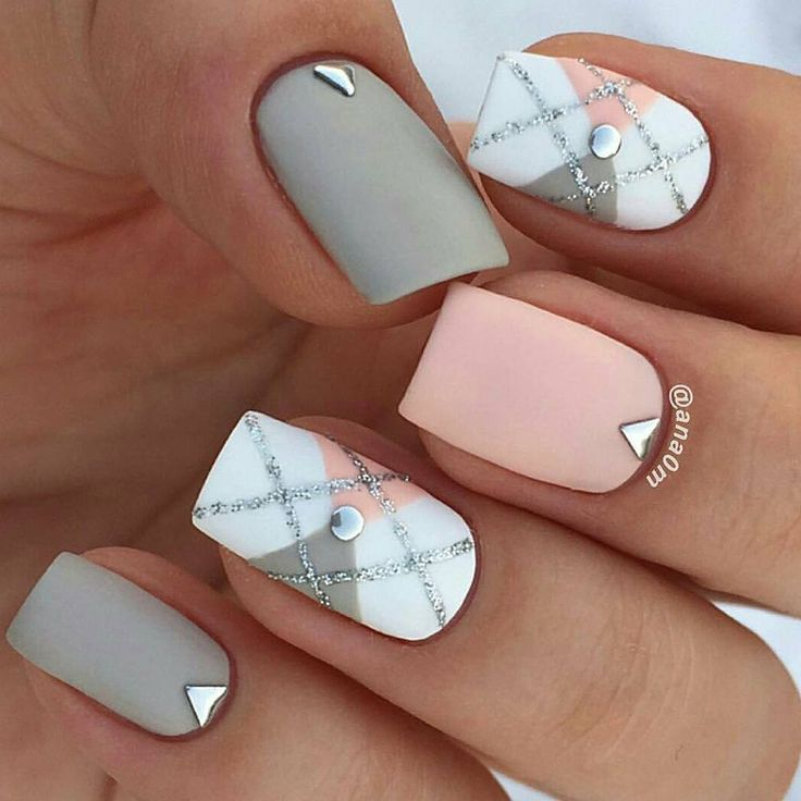 Pink, white, and gray argyle nail art