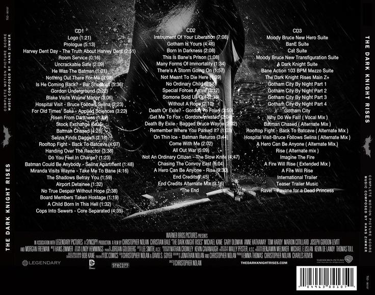 The Dark Knight Rises Ultimate Soundtrack Back cover