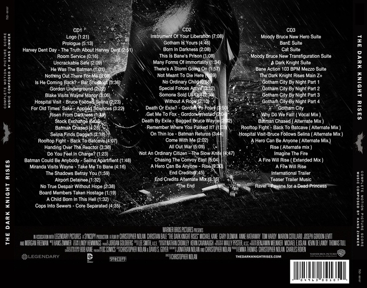 The Dark Knight Rises Ultimate Soundtrack Back cover
