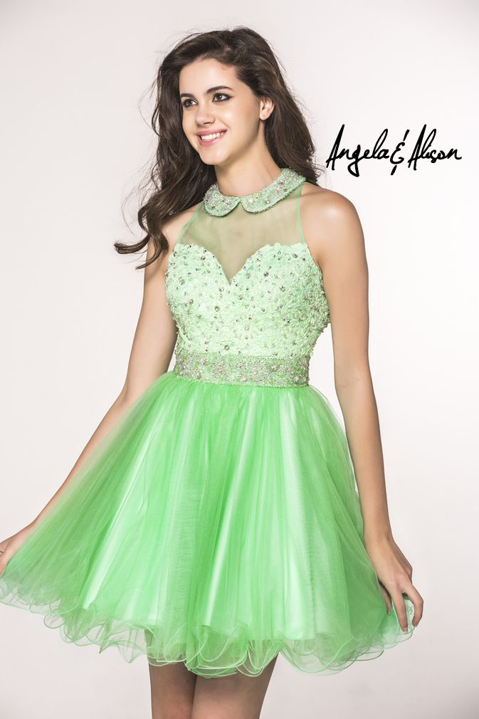 Style 42014 Haltered shirt collar neckline and beaded bodice with beaded belt and tulle skirt. Perfect for Prom, Homecoming, Gala, Wedding, Formal, Graduation, Ball... etc.