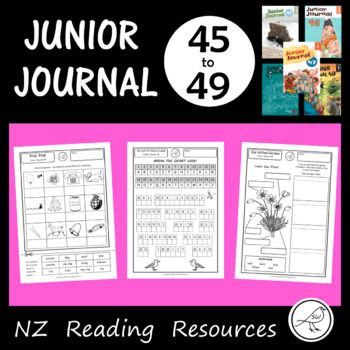Worksheets for Junior Journals 45-49. (New Zealand) A worksheet for every story, article, poem and play in the Junior Journals 45-49. 30 quality worksheets in total. Excellent for classroom use. Made by a teacher, for teachers. Great for photocopying.