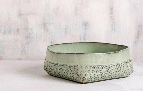 Mint green Ceramic bowl, Ceramic salad bowl, polka dot Modern serving bowl, decorative bowl, fruit bowl, Housewarming gift