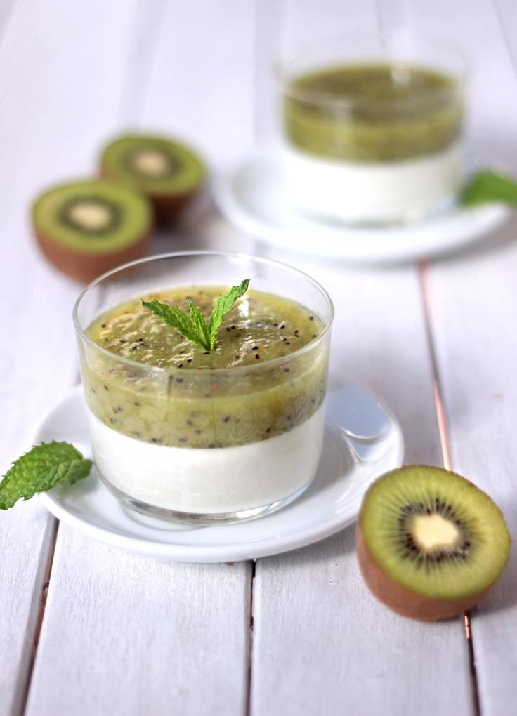 panna cotta with kiwi mousse