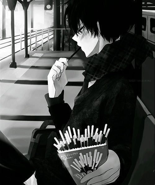 animé, garçons animés, noir et blanc, fanart, Japon, japonais, manga, monochrome, pixiv