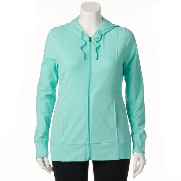 Plus Size Tek Gear® Dry Tek Zip-Front Hoodie ($22) ❤ liked on Polyvore featuring plus size women's fashion, plus size clothing, plus size tops, plus size hoodies, plus size, women's plus size hoodies, blue hoodie, plus size hooded sweatshirt, blue hooded sweatshirt and plus size hoodie
