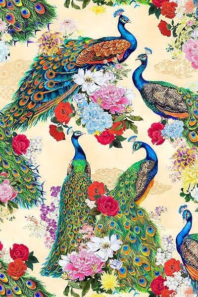 "White, Cocoa, Lavender, Pink, Orchid, Crimson, Raspberry, Sky & Ocean Blue, Blush, Gold Metallic Peacocks are elegance, glamore; rarely has there been a print that could compete! Glorious birds show off their tail feathers as they strut through a garden of peonies, roses, & cherry blossoms, highlighted with shimmering gold metallic. Clouds of asian motifs float in the background. Larger peacocks are 7"", with gold metallic, 'Peacocks' collection by Haruyo Morita for Elizabeth's Studio."