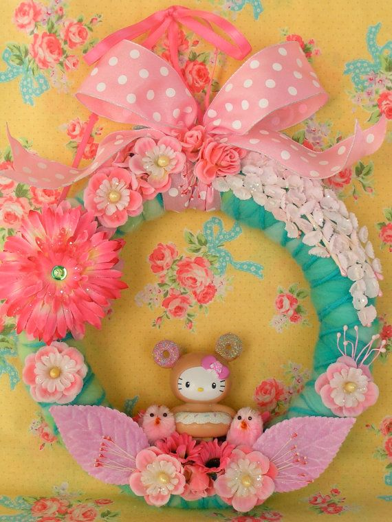 Adorable Happy Spring Pink and Green Hello Kitty by KittyKatDance, $38.00