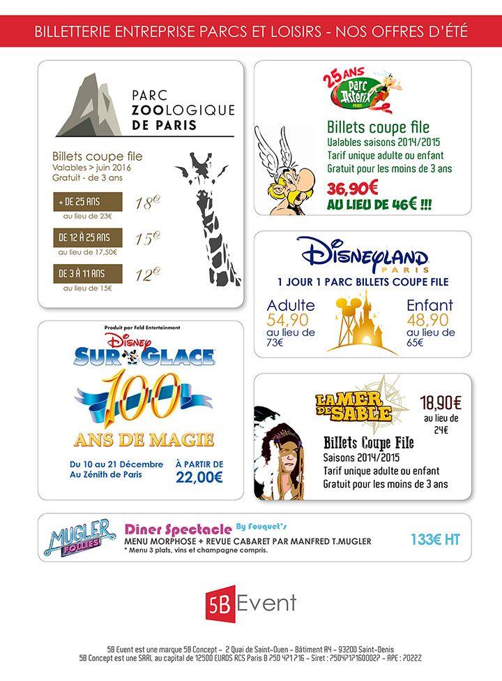 Créa d'un plaquette commerciale et bon de commande pour les offres d'été de 5BEvent. Offres : Disneyland Paris, Mugler Follies, Le parc zoologique de Paris, Disney sur glace, le parc Astérix et la Mer de Sable