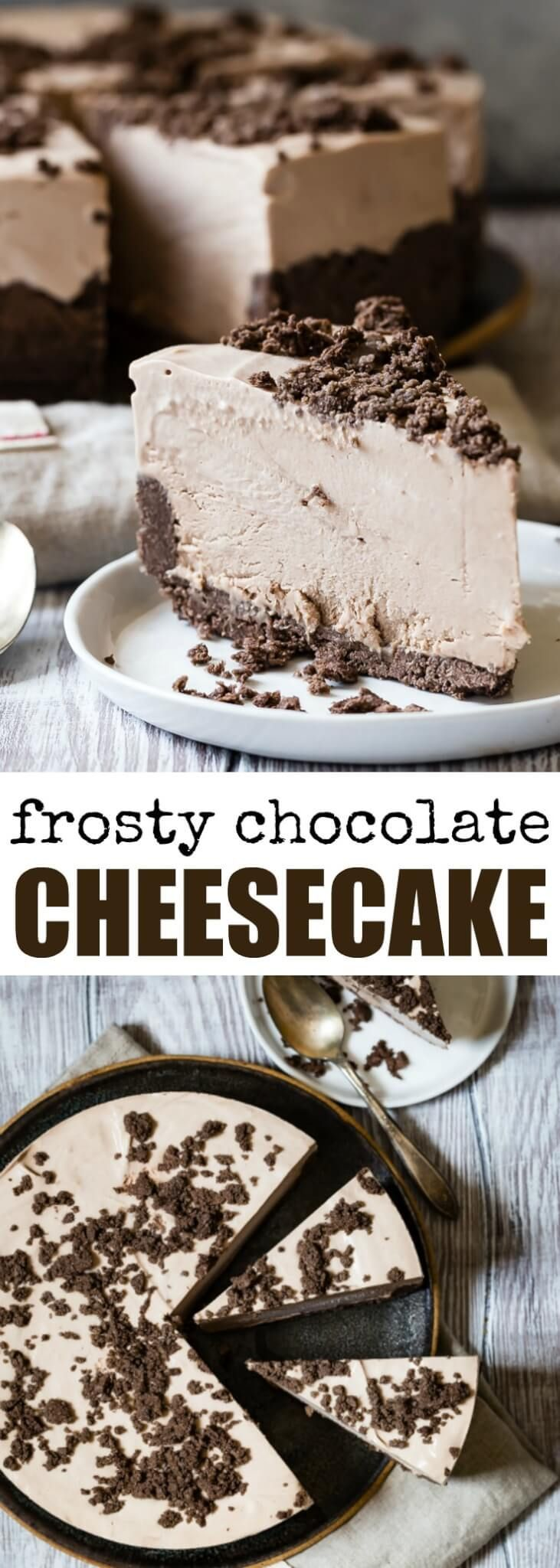My grandma's famous Frosty Chocolate Cheesecake ha…#cheesecake #chocolate #dessert