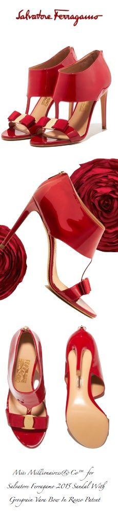 Salvatore Ferragamo 2015 - Sandal With Grosgrain Vara Bow In 'Rosso' Patent Leather