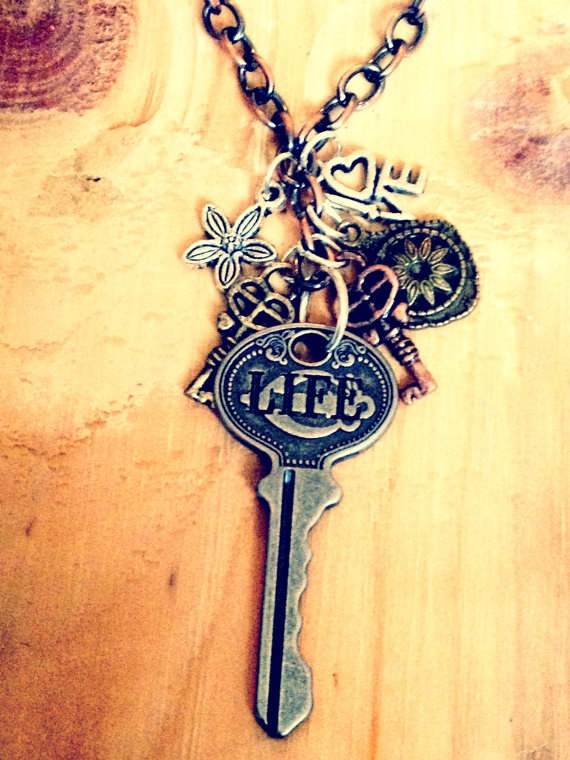 """""""LOVE LIFE""""  Mixed Metals Keys Bauble Necklace"""