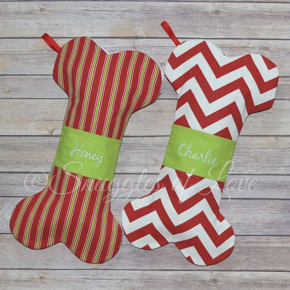 Dog Christmas Stockings - Personalized Dog Stockings - Embroidered Dog Christmas Stockings - Bone Shaped Stocking for Dogs - CUSTOM MADE
