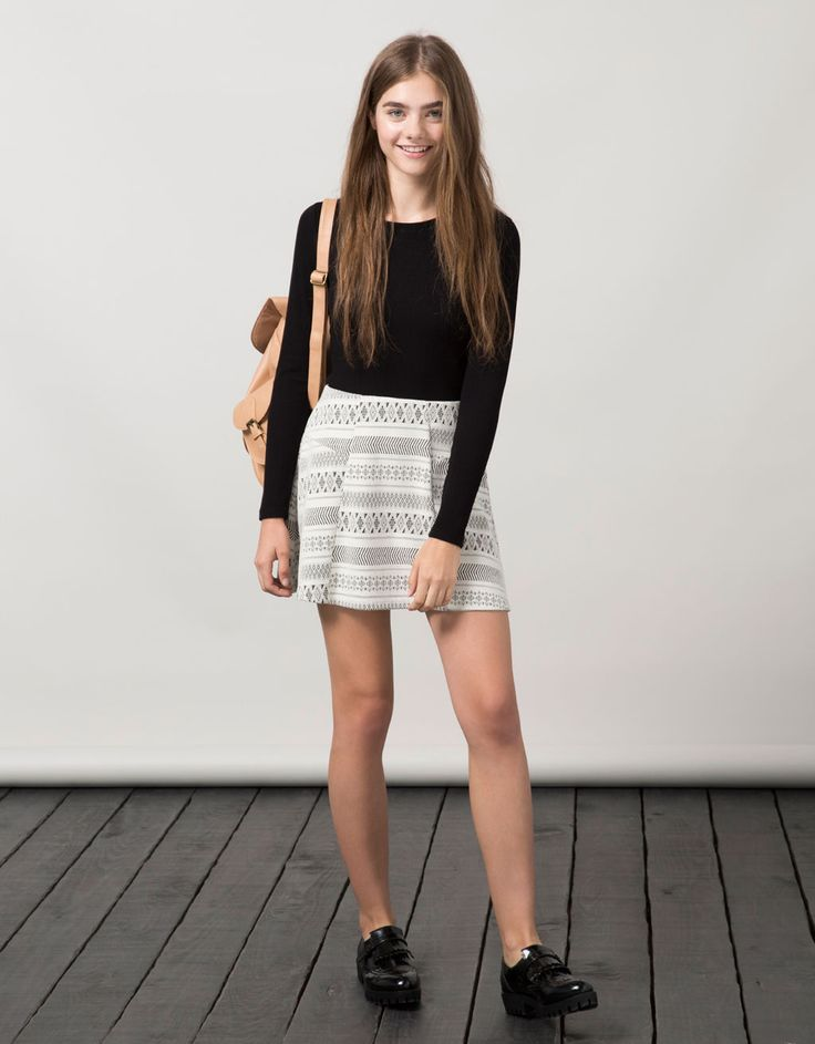 BSK long sleeve ribbed fabric top - Basics - Bershka Tunisia