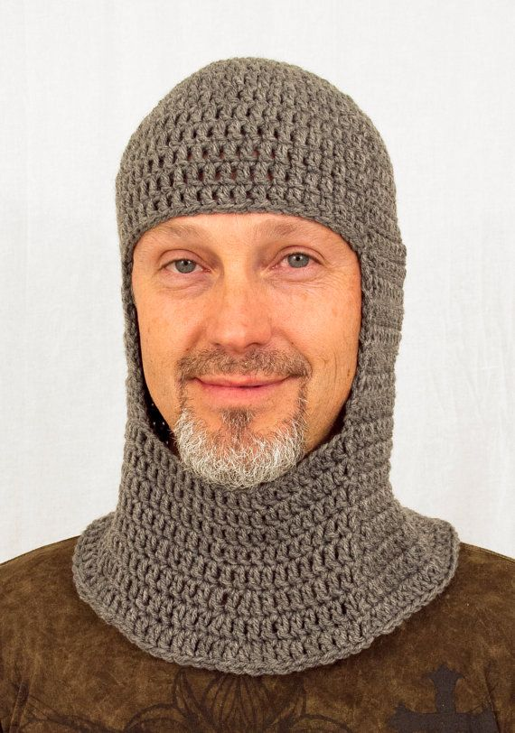 Medieval Knight Coif Hat, Crochet Grey Chain Mail,
