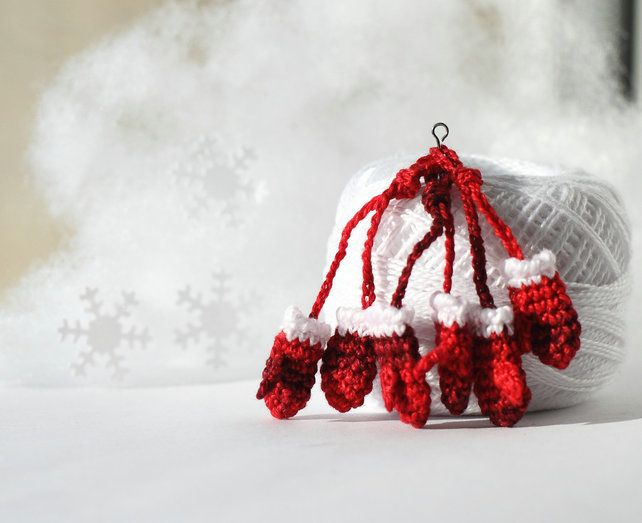 Set of three pair of itty-bitty red mittens Christmas accessories miniature gift
