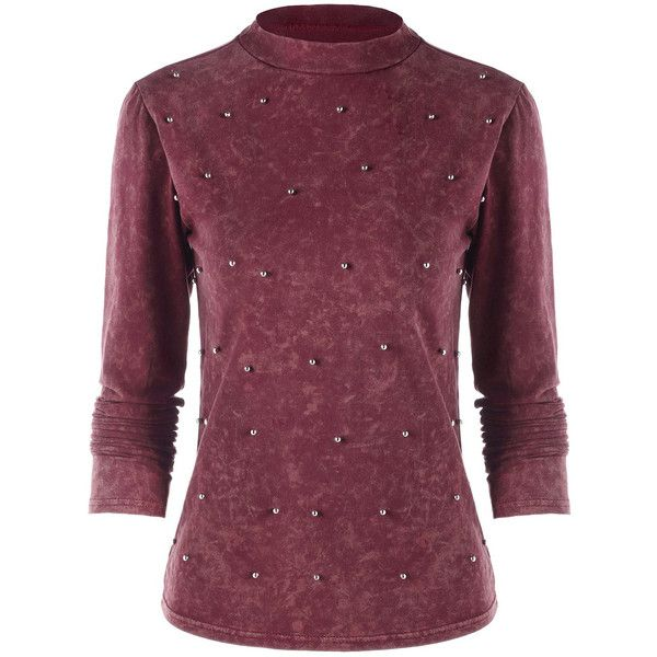 Red XL Beaded Mock Neck Velvet Long Sleeve Top (£9.31) ❤ liked on Polyvore featuring tops, velvet top, long sleeve tops, red beaded top, beaded long sleeve top and beaded tops