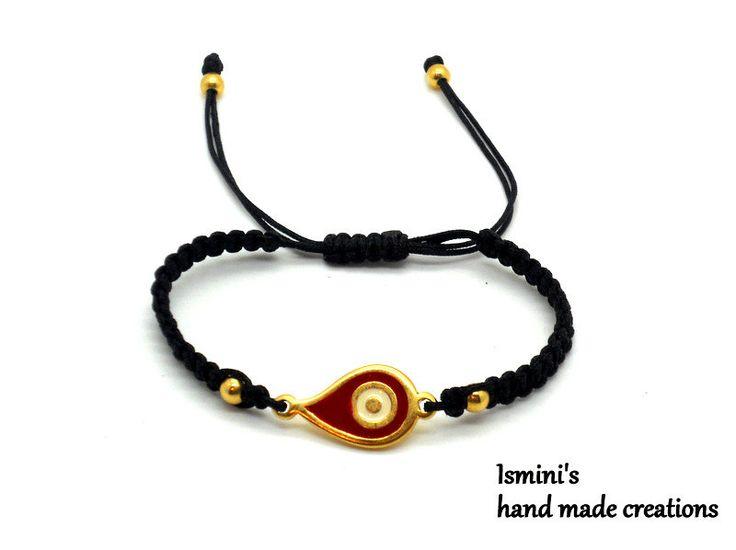 Macramé bracelet with 24k gold plated - enamelled eye drop by IsminisJewelryStore on Etsy