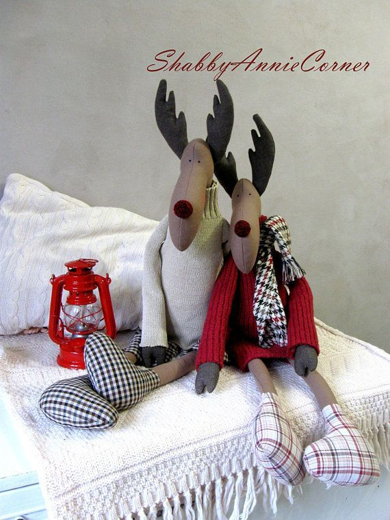Christmas deer toy Christmas moose toy Christmas decor Stuffed