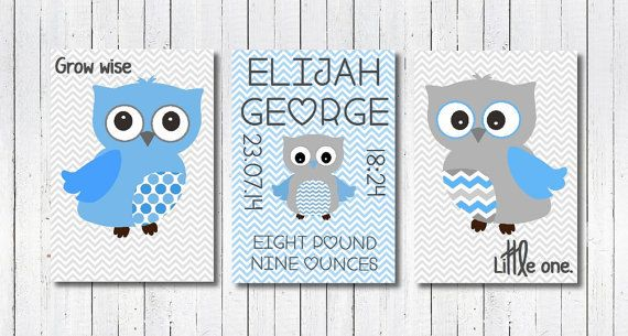 Baby Boy Nursery Print Baby Boy Owl Print by PerfectLittlePrints