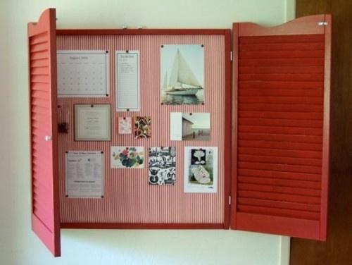 Hidden bulletin board: Old Shutters, Window, Offices, Bulletin Boards, Corks Boards, Shutters Ideas, Memo Boards, Diy Projects, Dreams Boards