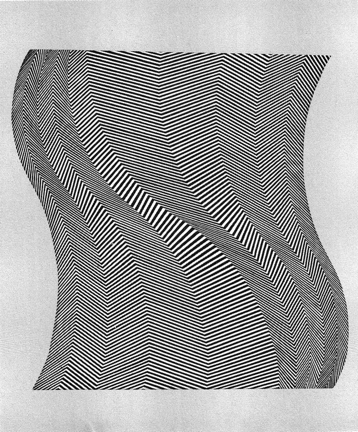 TWIST, 1963. Bridget Riley (b1931) is a British artist.  Around 1960 she began to develop her signature Op Art style consisting of black and white geometric patterns that explore the dynamism of sight and produce a disorienting effect on the eye.
