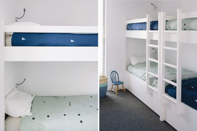 The bunk room at the front of the house features furnishings from Corso de' Fiori and bedding from Father Rabbit.