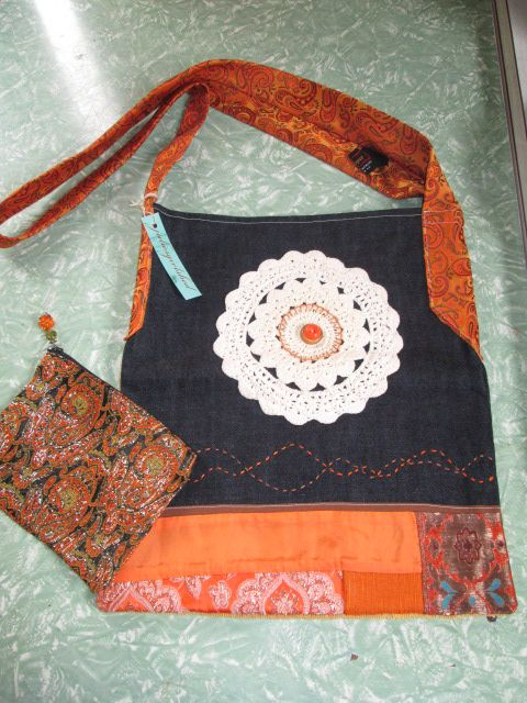 Hippy shoulder bag and purse, i created these with vintage scraps and a groovy retro tie for a strap