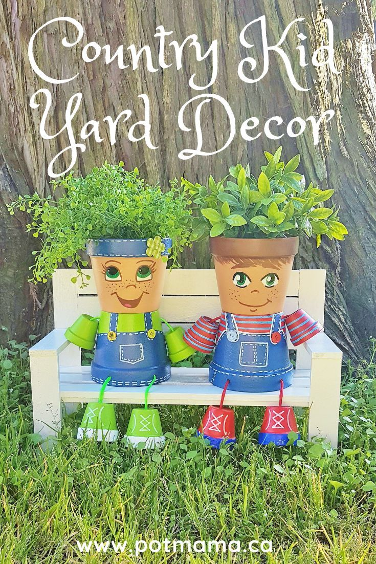 These Country Kids Clay Pot People Are A Truly Delightful Addition To Your Garden Decor And Make A Wonder Clay Pot People Painted Flower Pots Flower Pot Crafts