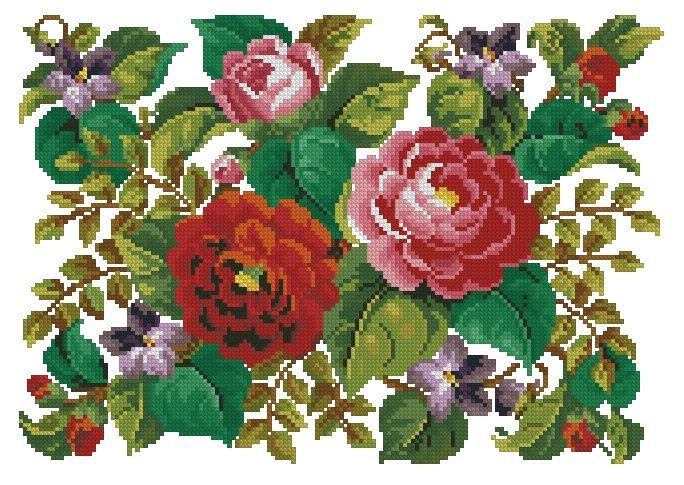 Rug with roses and violets antique pattern for cross by Smilylana