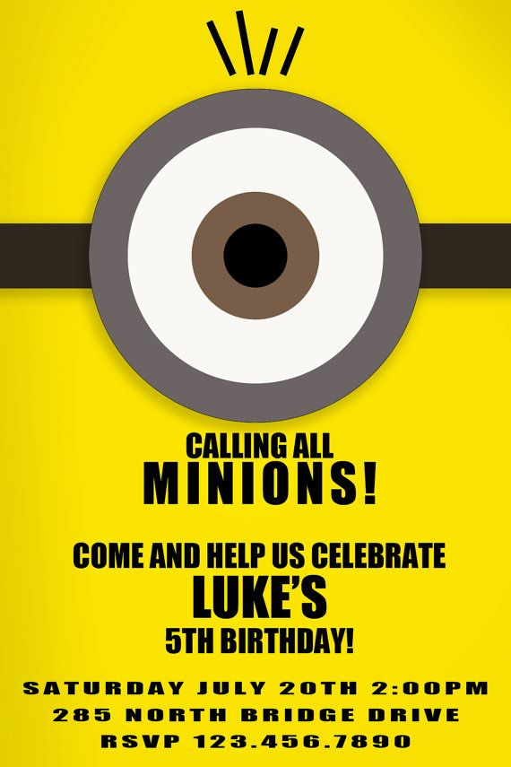 Despicable Me Minon Birthday Invite by KelevGirlDesigns on Etsy, $10.00
