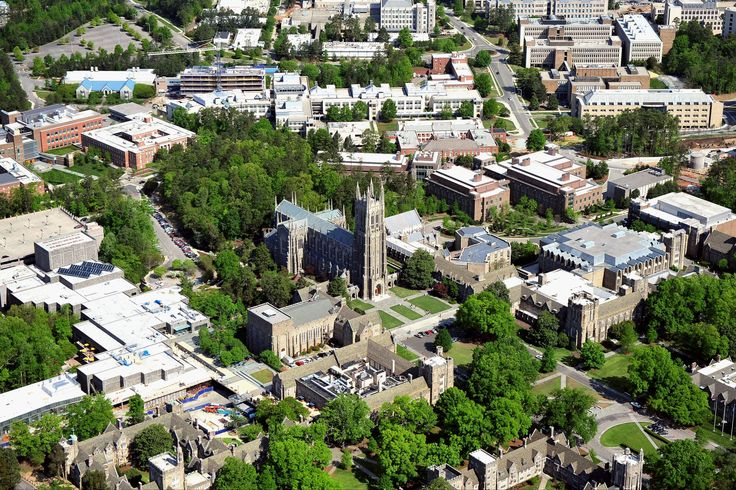 An aerial view of the Duke University campus. - Lance King/Getty Images