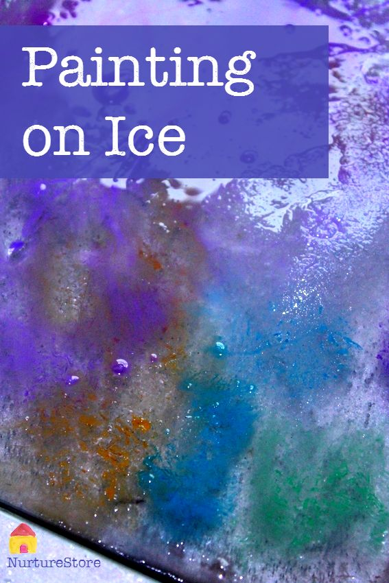 painting on ice - great winter art project, or summer ice activity to keep kids cool