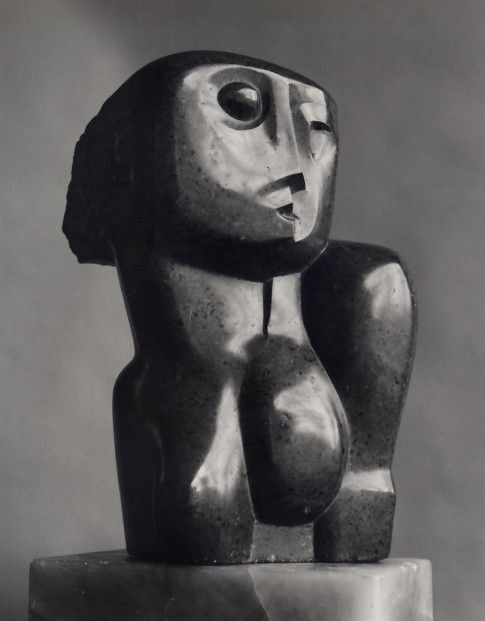 """""""Head and Shoulders"""" (1927), by Henry Moore. Private collection (Michael Hue-Williams, London); Verde di Prato marble"""
