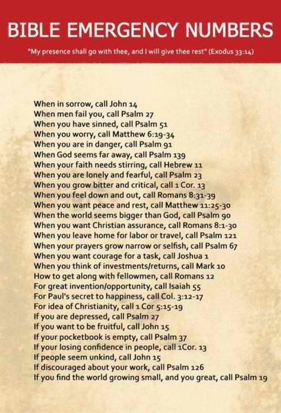 The perfect 911 Bible emergency scripture numbers... everyone everywhere needs these!!Remember This, Inspiration, Quotes, Faith, God Is, Bible Emergency Numbers, Bible Verses, The Bible, Biblevers