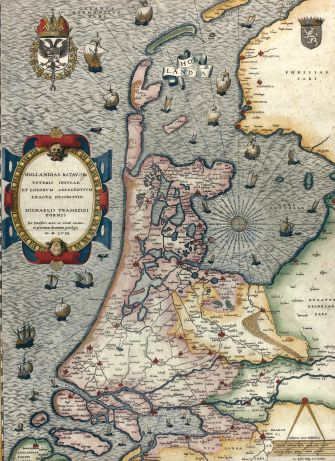 "Rare. The earliest ""Lafreri-school"" map of Holland.   Jan van Deventer"