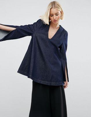 ASOS WHITE – Jeansoberteil mit eckigem Ausschnitt und geschlitzten Ärmeln in dunkelblauer Waschung