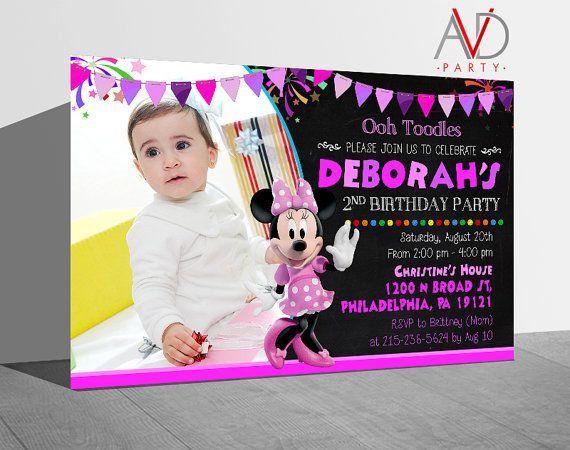 Minnie Mouse Birthday Invitation Minnie Mouse by avidastore