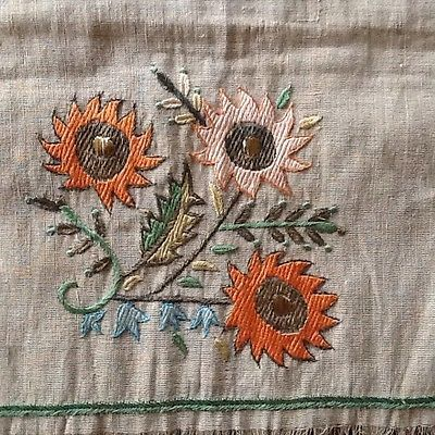 Antique C19th Turkish Ottoman Linen Hand Woven Embroidered Hand Towel