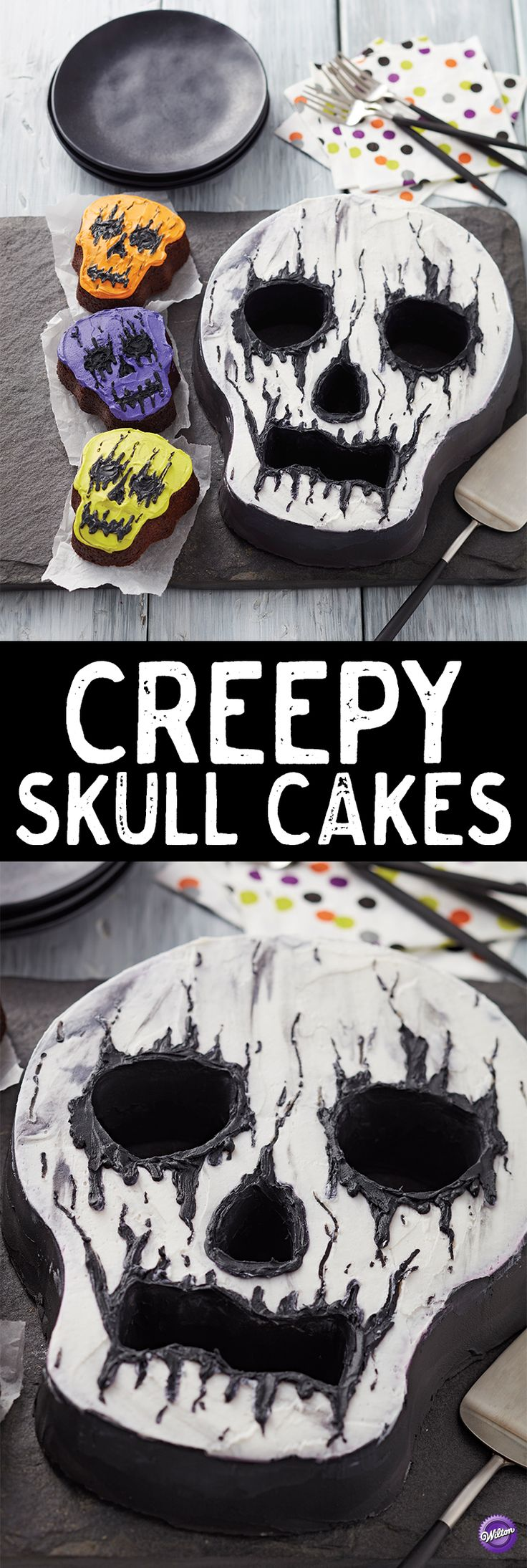 No bones about it, this Creepy Skull Cake is a great treat for your Halloween party! Simple enough for decorators of all skill levels, this cake can be completed in only a few easy steps. Best of all, the Skull Tube Cake Pan has holes for the eyes, nose and mouth of your skull, so your cake comes out all ready to decorate! A spooky cake with great detailing, this cake definitely tastes much better than it looks!